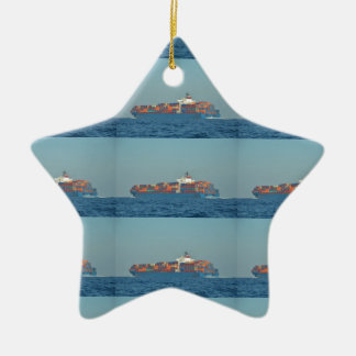 Container Ship APL CHILE Double-Sided Star Ceramic Christmas Ornament
