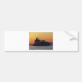 Container ship at sunset bumper sticker