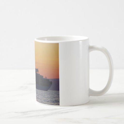 Container ship at sunset mug