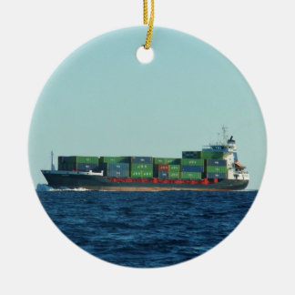 Container Ship Ceramic Ornament