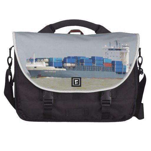 Container Ship Emily Borchard Laptop Messenger Bag