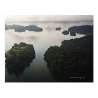 Container Ship on Lago Gatun, Panama Canal, Postcard