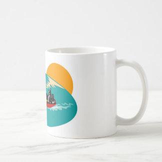 container ship retro mug