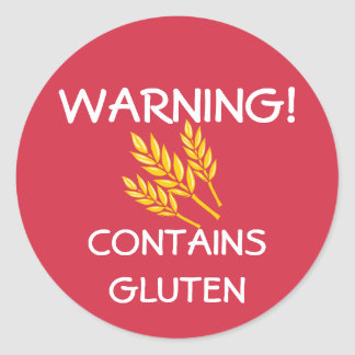 Contains Gluten Food Allergy Alert Red Classic Round Sticker