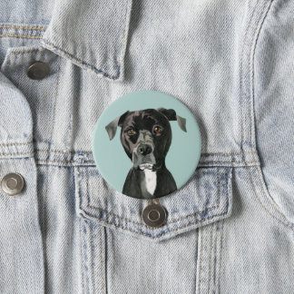 """Contemplating"" Pit Bull Dog Painting 7.5 Cm Round Badge"