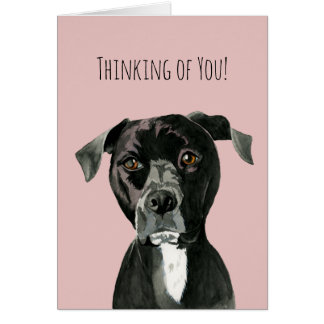 """Contemplating"" Pit Bull Dog Painting Card"
