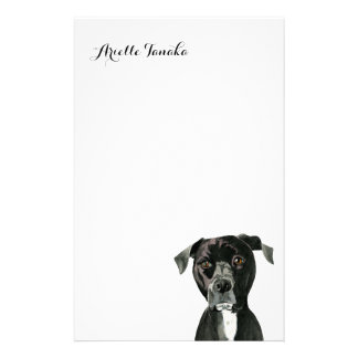 """Contemplating"" Pit Bull Dog Painting Stationery"