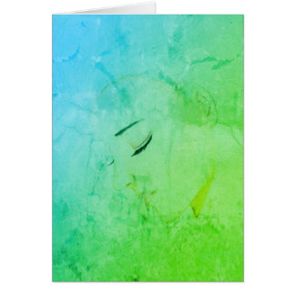 Contemplation Girl Illustration Blue Green Card