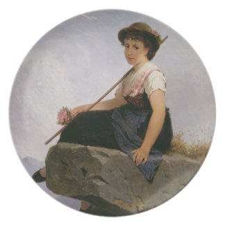 Contemplation (oil on panel) dinner plate