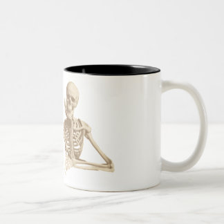 Contemplative Skeleton. Two-Tone Coffee Mug