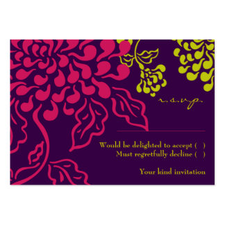Contempo Floral Purple Chartreuse RSVP Card Business Card Templates