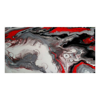 Contemporary Abstract - Black, Silver and Red Poster