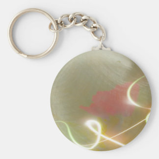 Contemporary  Abstract  Flower Basic Round Button Key Ring