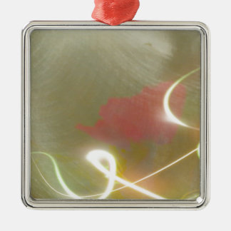 Contemporary  Abstract  Flower Silver-Colored Square Decoration