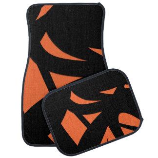 Contemporary Art Orange / Black Car Mat
