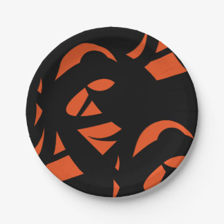 Contemporary Art Orange / Black Paper Plate