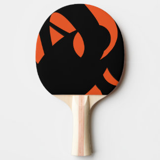 Contemporary Art Orange / Black Ping Pong Paddle