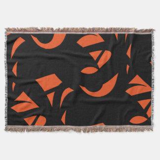 Contemporary Art Orange / Black Throw Blanket