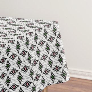 Contemporary aztec tribal green pink diamonds tablecloth