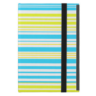 Contemporary baby blue yellow and white stripes case for iPad mini