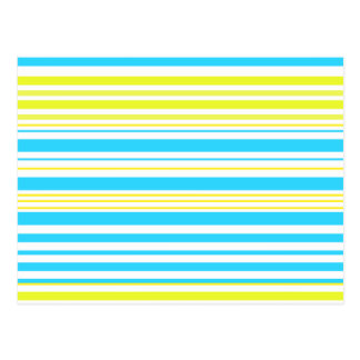 Contemporary baby blue yellow and white stripes postcard