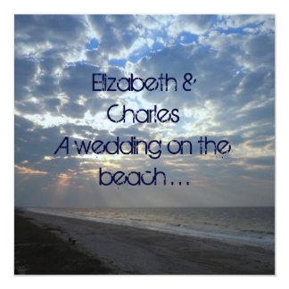 Contemporary Beach Wedding 13 Cm X 13 Cm Square Invitation Card