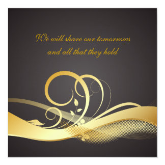 Contemporary Black and Gold Wedding Invitation