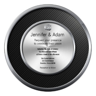 contemporary black and silver wedding invitation