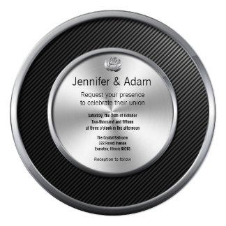 contemporary black and silver wedding invitation