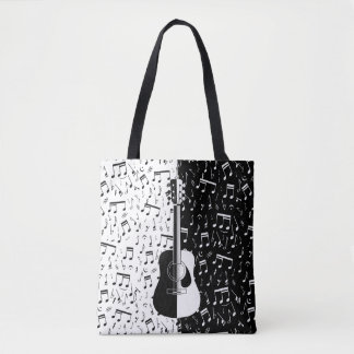 Contemporary black and white guitar and music note tote bag