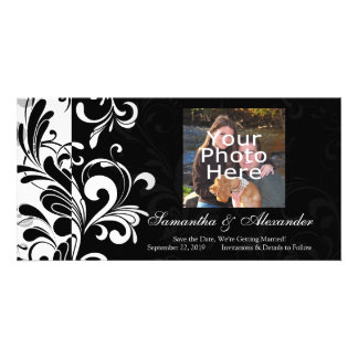 Contemporary Black and White Swirl Custom Photo Card