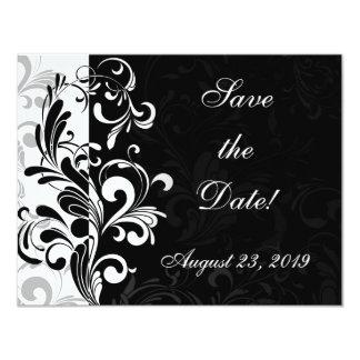 Contemporary Black and White Swirl 11 Cm X 14 Cm Invitation Card