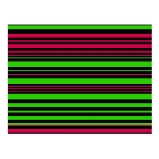 Contemporary black green pink stripes postcard
