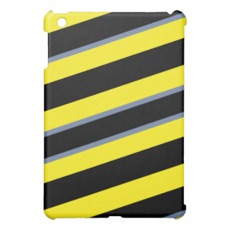 Contemporary Black Yellow pigeon blue stripes iPad Mini Cover