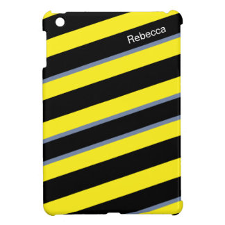 Contemporary Black Yellow pigeon blue stripes iPad Mini Covers