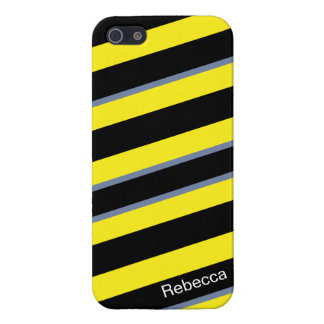 Contemporary Black Yellow pigeon blue stripes iPhone 5 Cover