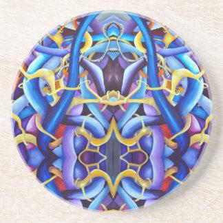 Contemporary Blue Abstract - Depth Illusion Coaster