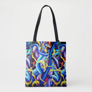Contemporary Blue Abstract - Depth Illusion Tote Bag