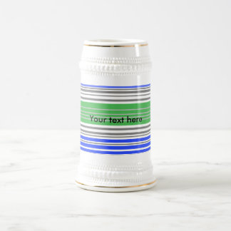 Contemporary blue and gray horizontal stripes beer steins