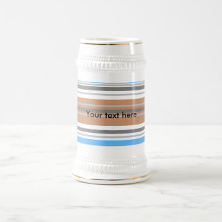 Contemporary brown and blue horizontal stripes beer steins