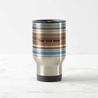 Contemporary brown and blue horizontal stripes stainless steel travel mug