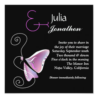 Contemporary Butterfly Wedding Invitation