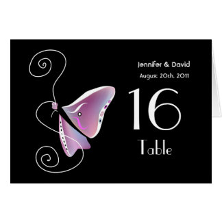 Contemporary Butterfly Wedding Table Number Card