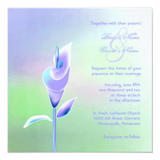 Contemporary Calla Lily Wedding Invitation