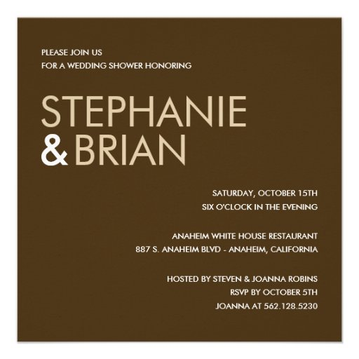 Contemporary Charm Wedding Shower Invites (Brown) Invite
