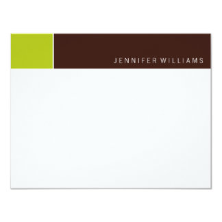 Contemporary Chartreuse and Brown Color Blocks 11 Cm X 14 Cm Invitation Card