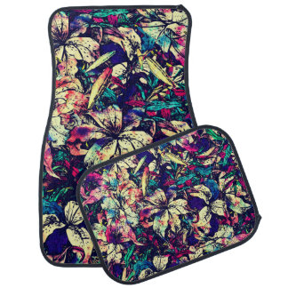 Contemporary Chic Watercolor Dragon Lilies Flowers Car Mat