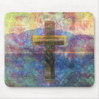 Contemporary Christian Art  Modern Cross Mouse Pad