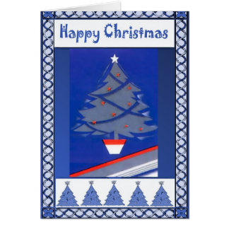 Contemporary Christmas tree, shades of blue Greeting Card