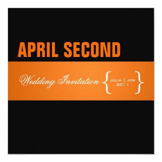 Contemporary + classy/orange + black 13 cm x 13 cm square invitation card